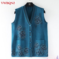 Spring Autumn Grandmother Sweater Knitted Sleeveless Coat Large size 5XL V neck Loose Warm Vest Jacket Women Cardigan Casual Top