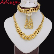 Adixyn Ethiopian Wedding Jewelry Sets Gold Color Necklace/Earring/Bracelet Jewelry African/Eritrea/India Women Gift adixyn ethiopian jewelry set gold color crystal necklace earrings pendant ring bangle eritrea wedding habesha jewelry