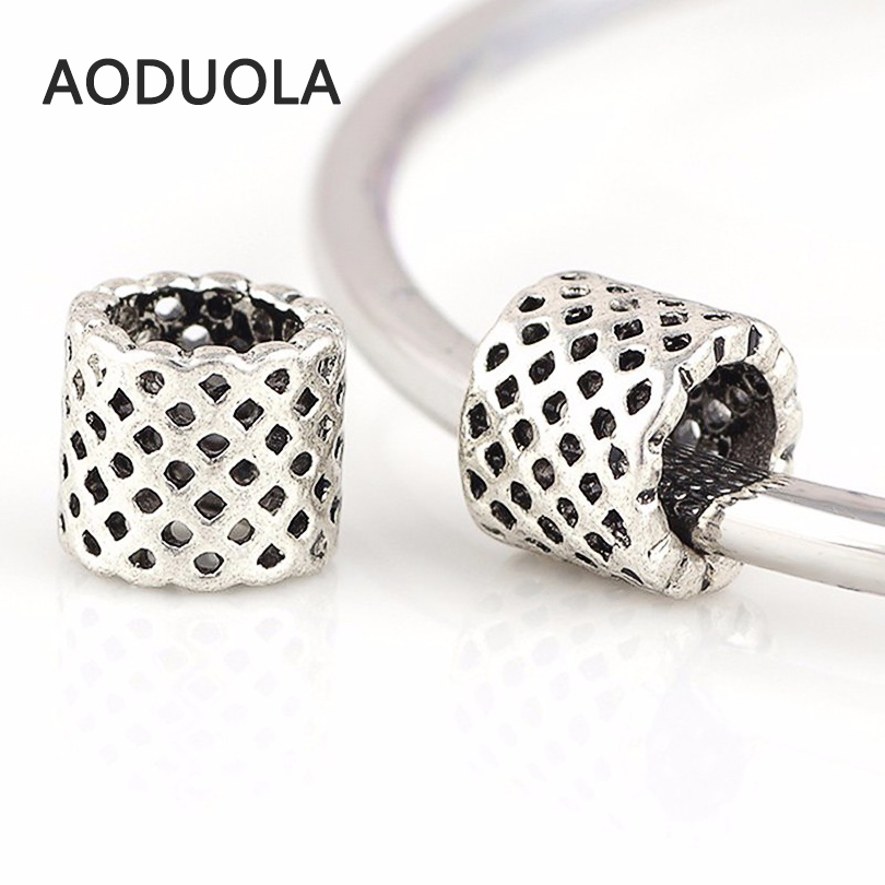 10 Pcs a Lot Silver Alloy Beads Round Shape DIY Big Hole Metal Beads Spacer Murano Bead Charm Fit For Pandora Charms Bracelet