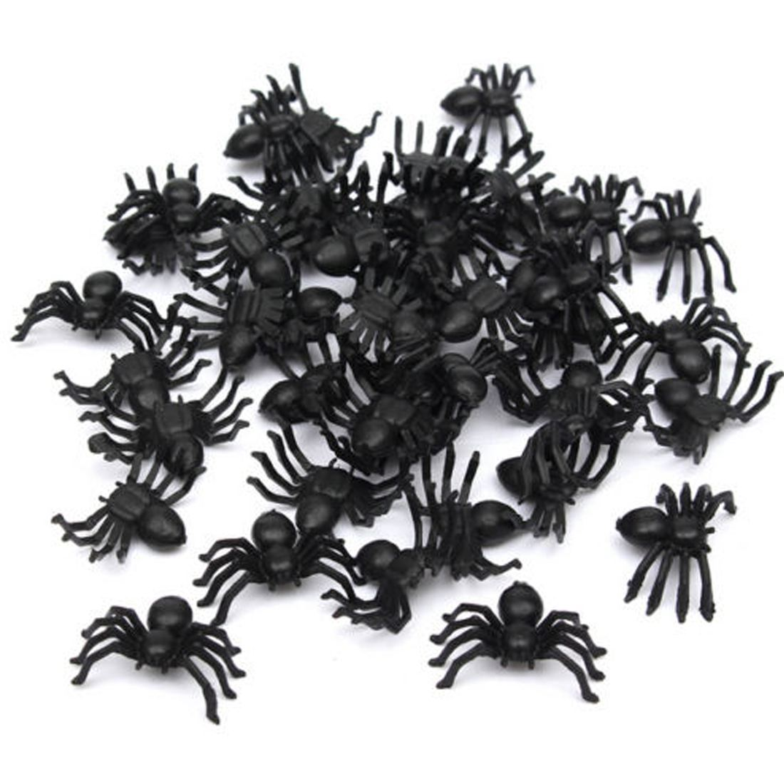 50pcs 2*1.4cm Plastic Black Spider Halloween Decoration Festival Supplies Funny Prank Toys Decoration Realistic Prop