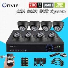 Kit câmera de visão noturna de vigilância de vídeo HD CMOS 700tvl TEATE 8ch cctv 960 h em tempo real dvr gravador HDMI 1080 p sistema NVR CK-150