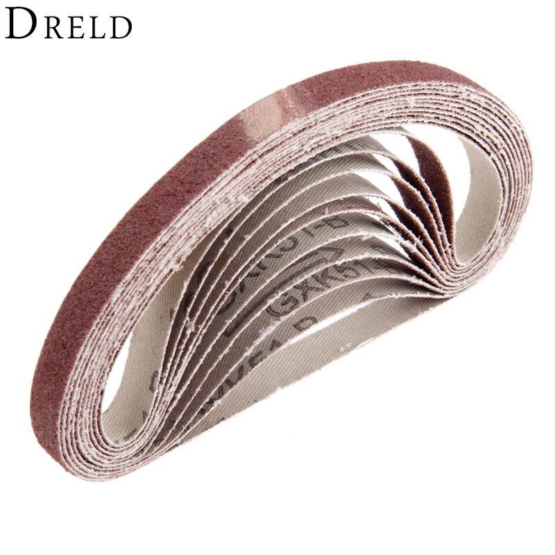 DRELD 10Pcs 330*10mm Abrasive Polishing Sanding Belt For Belt Sanders 80 Grit Aluminium Oxide Grinder Belt For Angle Grinder