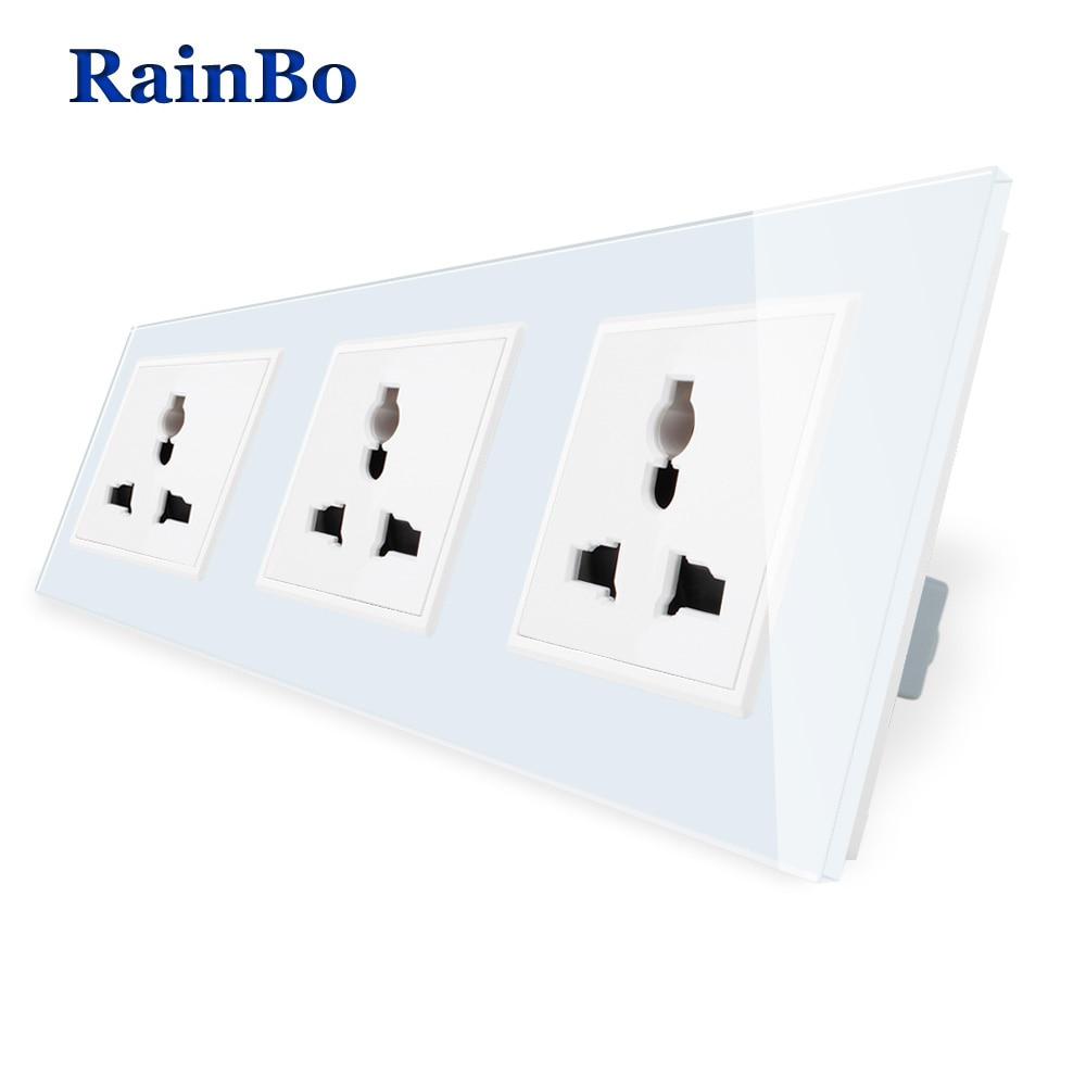 RainBo  Universal-Standard-Power 3-hole-Multi-function Socket-Glass-Panel AC Wall-Power-Socket   A38MU8MU8MUW/B