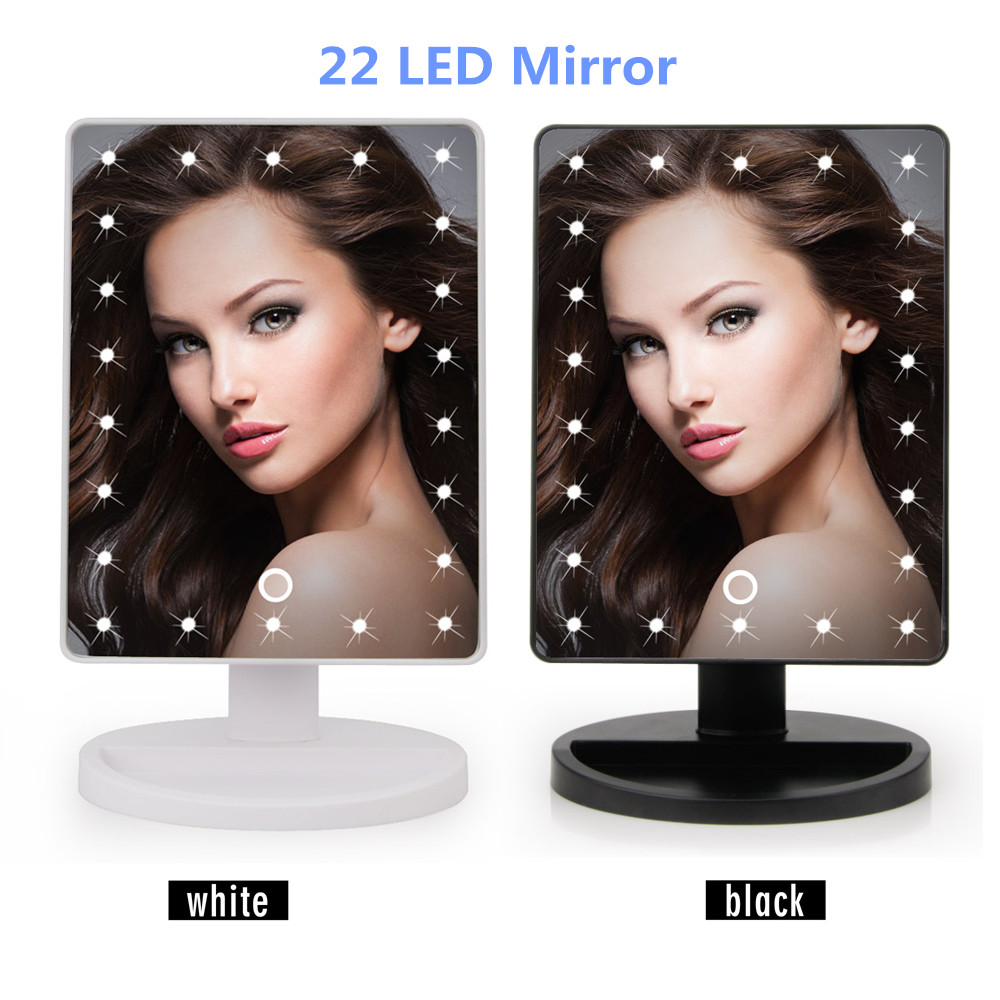 LED Touch Screen Makeup Mirror Professional Vanity Mirror With 16/22 LED Lights Health Beauty Adjustable Countertop 180 Rotating 1