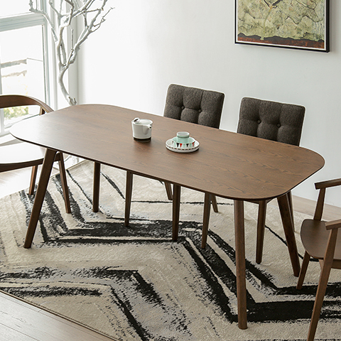 Nordic IKEA Dining Table Small Apartment Minimalist Modern Wood - Walnut color dining table