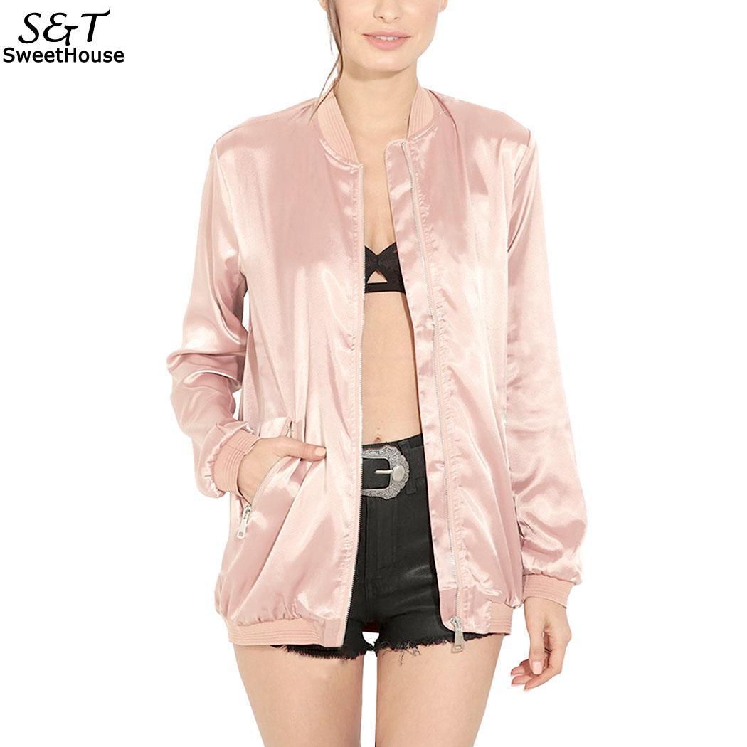 Autumn Bomber   Jacket   Women 2018 Casual Women   Jackets   Solid Pocket Zipper Front Long Sleeve Women   Basic     Jacket   Coat Outwear