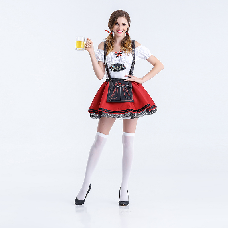 VASHEJIANG Bavarian Beer Girl Waitress Adult Wench Maiden Costume German Oktoberfest Beer Girl Costume for Halloween Party dress