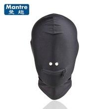 Mantre Fetish Bondage Belt Sex Toys Headgear With Zipper Mouth Hole Hood Mask Adult Supplies For Couples