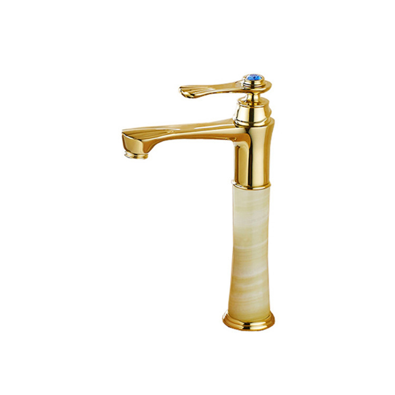 цена на Marble faucet basin hot and cold basin jade taps full copper Golden lavatory faucet marble stone gold basin faucet