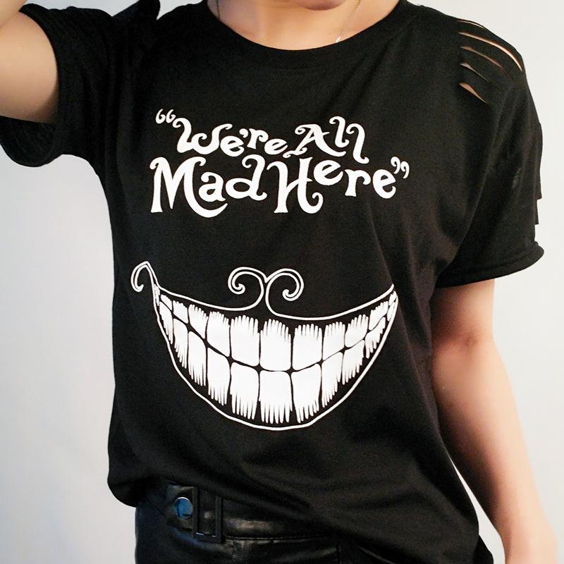 Cheshire Cat Print Female T-Shirt Alice in Wonderland
