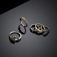 5Pcs Rhinestone Leaf Boho Midi Finger Knuckle Rings Set Women Wedding Jewelry W2952001