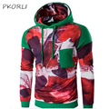New Fashion 2016 Brand Winter Men Hoodie Pullover Patchwork Mens Hoodies And Sweatshirts Casual Pocket Male Hoody Green XXL