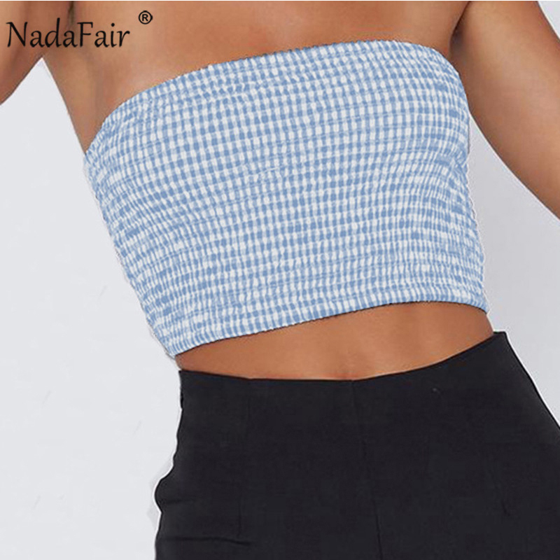 bb699fcb8b62f6 Detail Feedback Questions about Nadafair backless sleeveless plaid elastic  ruched wrap crop tops summer women strapless off shoulder casual party  beach tops ...