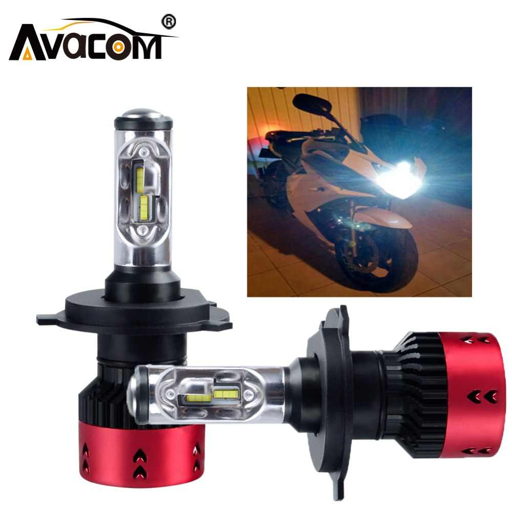 Avacom 2 Pcs LED H4 HS1 High Low Moto Light Motorcycle Headlamp 12V 6500K 70W 16000Lm ZES Chip Motorbike Scooter Headlight Bulb
