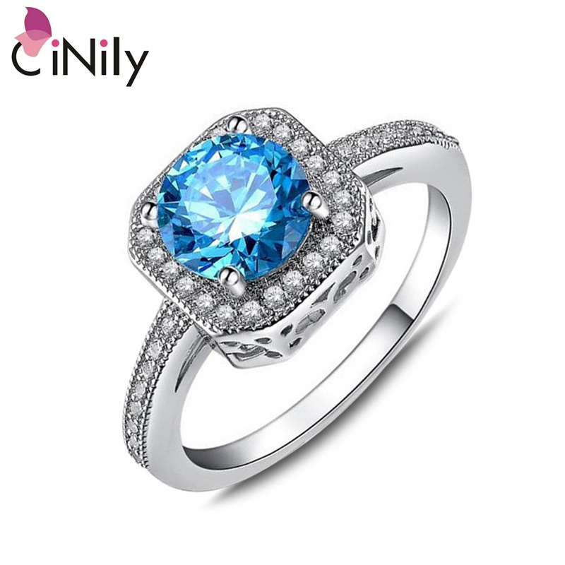 Cinily Fashion Jewelry Wedding-Ring Blue-Stone Silver-Plated Size-6-9 Cubic-Zirconia