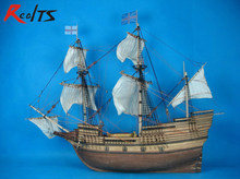 RealTS Classic wooden scale sailing ship wood scale boat 1/48 MAY FLOWER scale assembly sailing model ship kits(China)