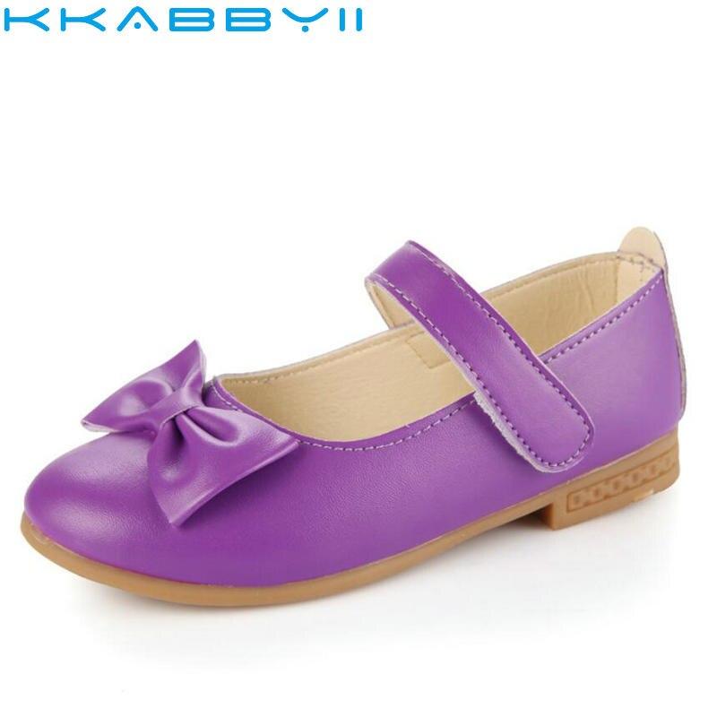 Kids Shoes Fashion Childrens Newest Big Bow Leather Princess Girls Shoes Ballet Dance Shoe Flat Size 21-36