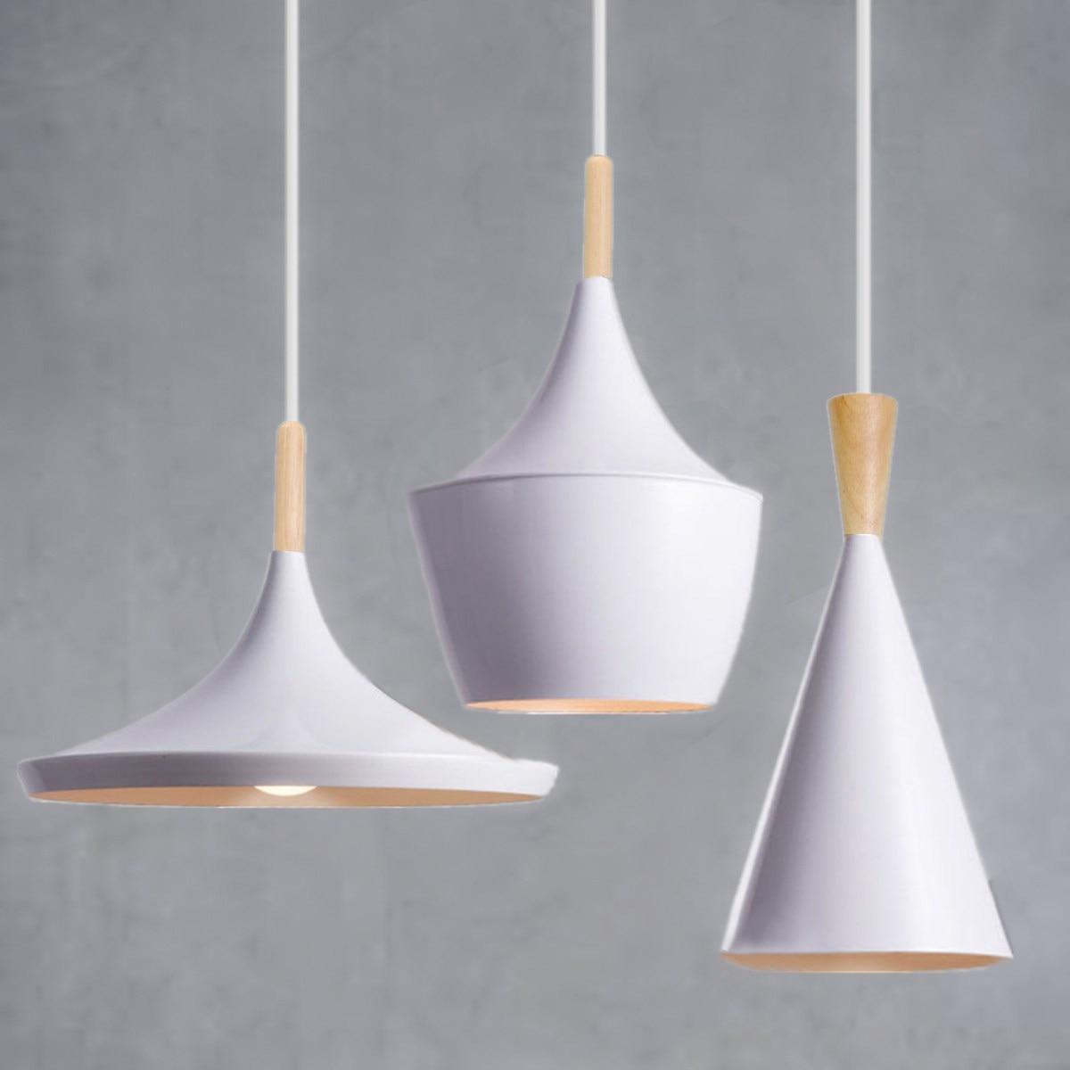 3 styles modern pendant light wood metal e27 socket loft for Modern white pendant lighting