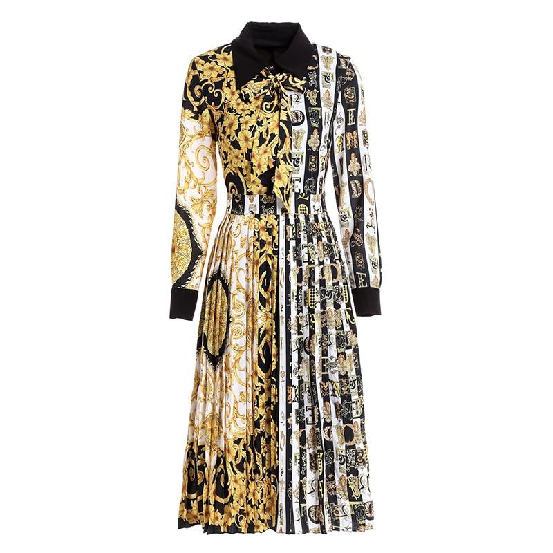 Pour Neck Partie Robes Pleine Piste Mode down Robe Plissée La De Arc Style Manches Turn Patchwork Rue Grand Baroque qXUxwanz8