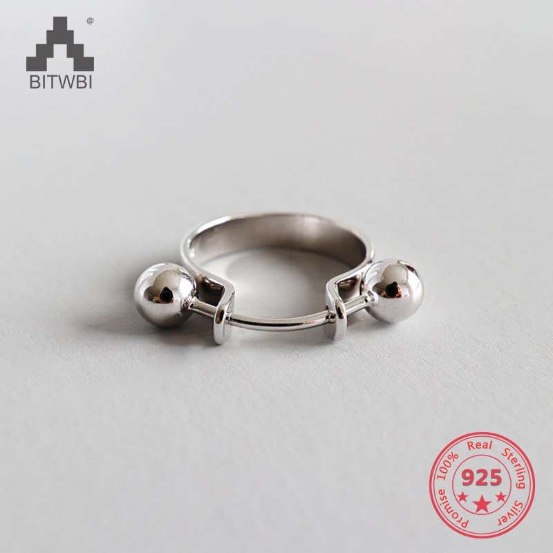 S925 sterling silver fashion personality minimalist geometry double round beads ringS925 sterling silver fashion personality minimalist geometry double round beads ring