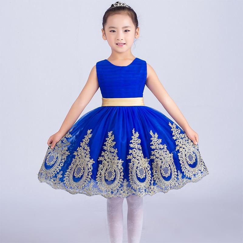 ФОТО Royal princess dress knee-length ball gown kids girls dress 2016 new appliques flower girl dresses for wedding birthday costumes