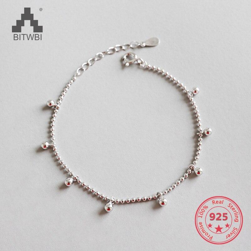 100% 925 Sterling Silber Armband Minimalistischen Perlen Charms Schmuck Für Frauen