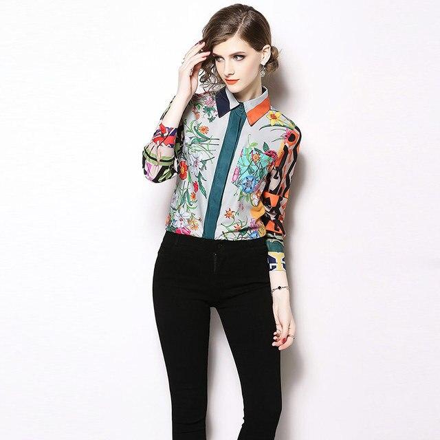 Camisa estampado multicolor floral geométricos elegante 2
