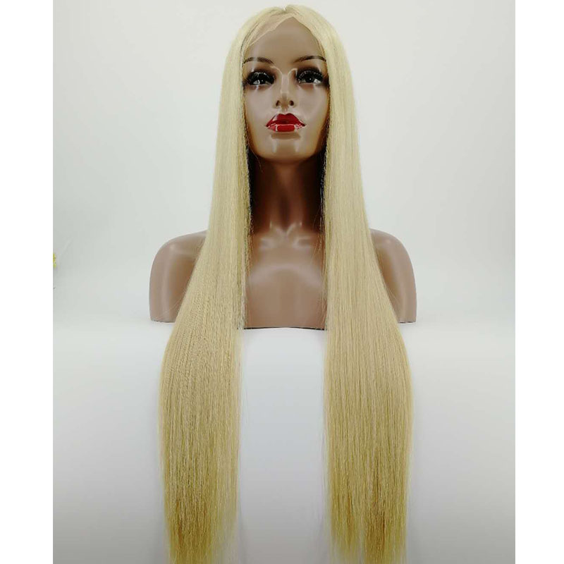 Holy Belle Straight Blonde High Density Wig Brazilian Virgin Human Hair Pre Plucked Full Lace Wig with Baby Hair for Women(China)