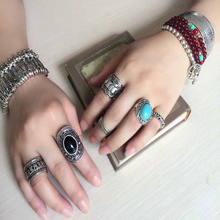 Hot Sale 4Pcs Set Noble Beautiful Retro Silver Plated Boho Womens Elephant Finger Punk Rings garnet jewelry love screw(China)