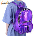Guapabien Silver Gold Purple Hologram Laser School Backpack Bling PU Leather Women Men's Travel Book Bags Preppy Laser Backpack