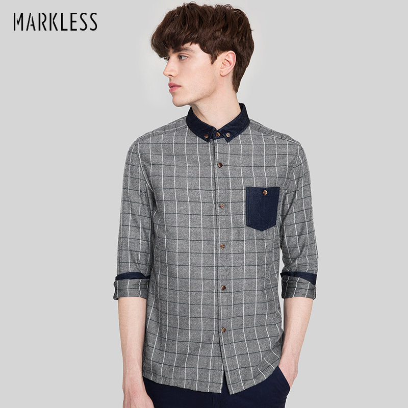 Markless 2018 Autumn Vintage 100% Cotton Grey Striped Men Shirts Slim Long-sleeve Fashion Casual Camisa Masculina CSA7588M