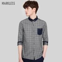 Markless 2018 Autumn Vintage 100 Cotton Grey Striped Men Shirts Slim Long Sleeve Fashion Casual Camisa