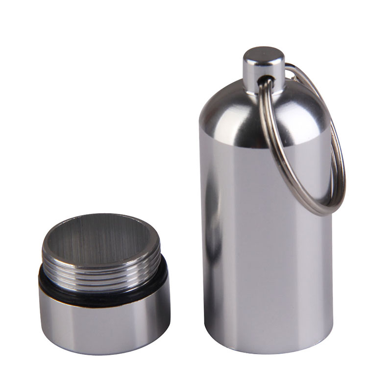 High Quality Waterproof Aluminum Pill Box Case Bottle Drug Holder Container Key-ring Outdoor Sports Camping Hiking Accessories