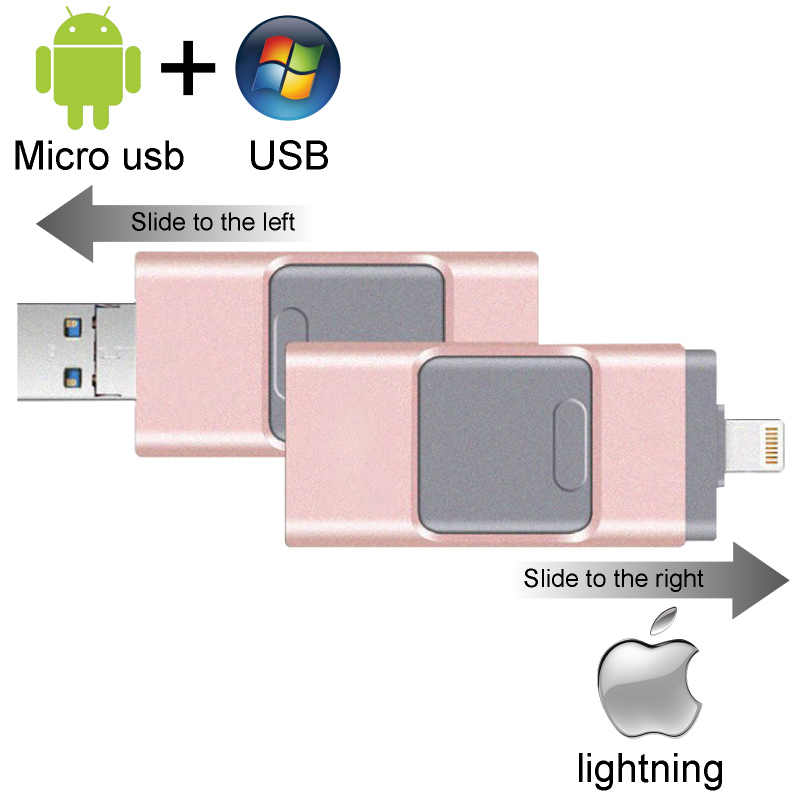 2018 nuevo iOS unidad Flash Usb para iPhone/iPad/teléfono Android 256GB USB para iPhone6 7 8 X XS X XR Pendrive 128GB disco en clave