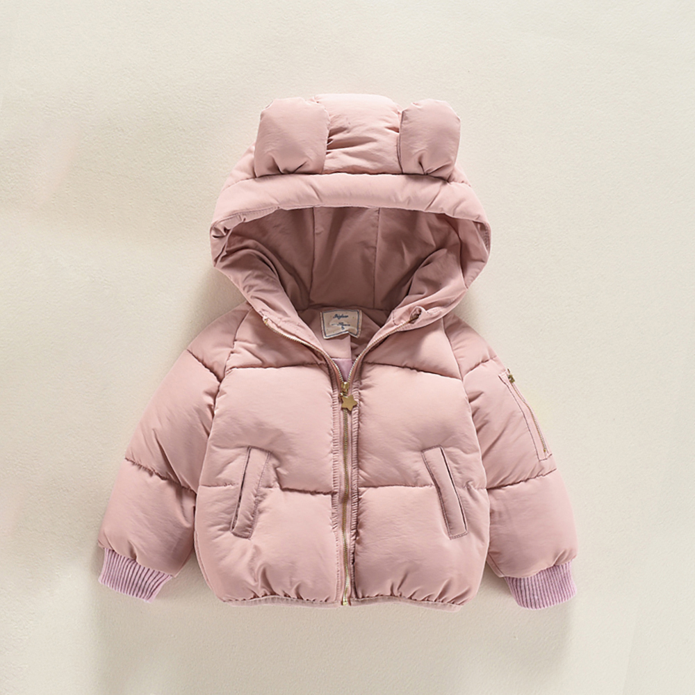 JN666 Toddler Baby Girl Winter Cute Rabbit 3D Ears Thicken Keep Warm Hooded Coat Child Warm Cotton Jacket 1-4T Kids Outwear brand children coat jackets stripe cute rabbit ears hooded wool coats for girl kids double breasted woolen jacket infant outwear