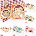 5Pcs/set Children Animal Bamboo Fiber Kitchen Dinnerware Tableware Set For Baby