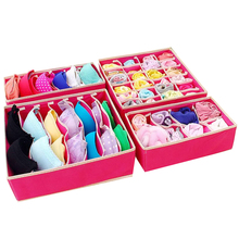 4 pieces / set of foldable linen storage organizer family organizer shorts bra underwear drawer multi-size coverless storage box