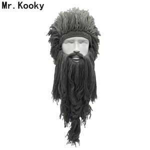 Mr.Kooky Unisex Crazy Wig Long Beard Vikingar Beanies Vikings Hats Handmade Winter Cosplay Gifts Funny Halloween Costumes Caps(China)