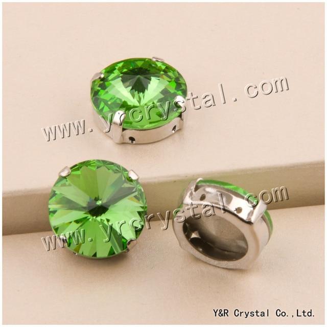 YANRUO  1122S 6 8 10 12 14 16 18 mm Peridot Rivoli Pointback Setting Crystal 01993263c6ea