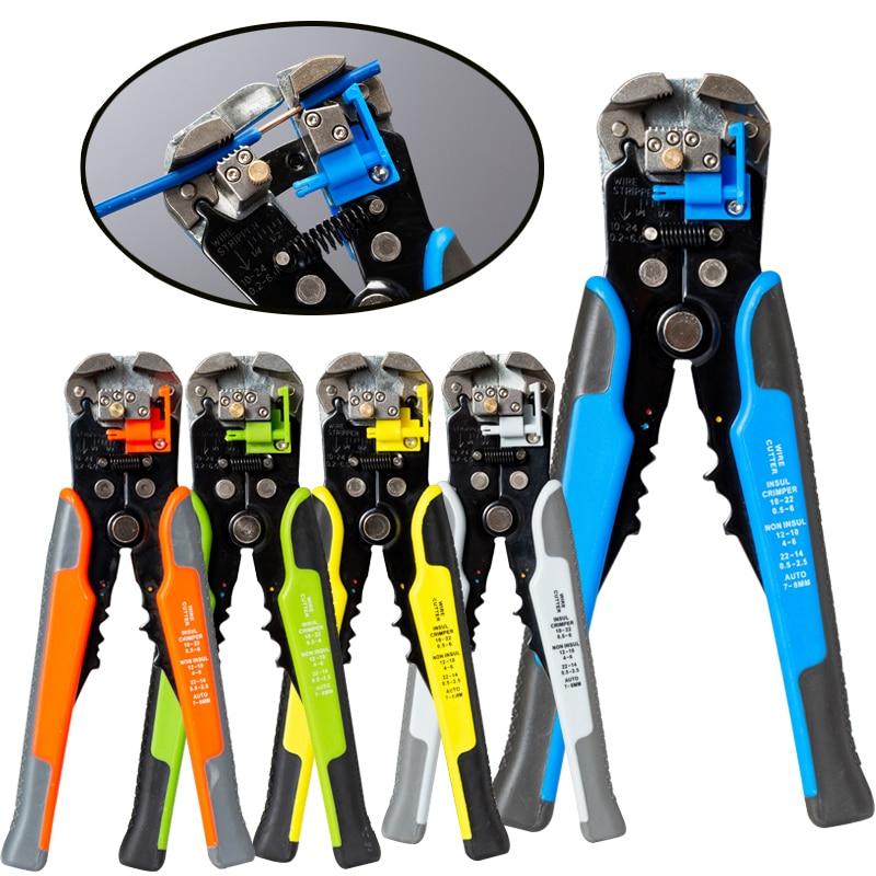 HS-D1 cortador de Cable de prensado automático pelador de alambre herramientas de pelado multifuncional Terminal de alicates 0,2-6.0mm2 herramienta