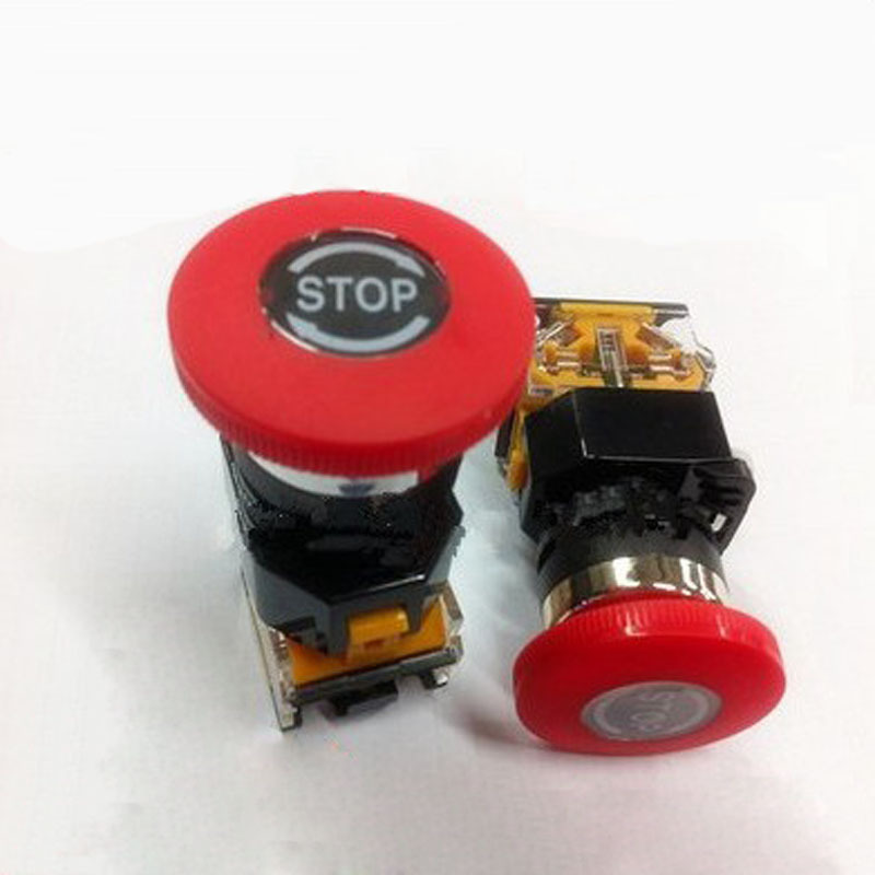 Emergency Stop Switch Push Button Self-Locking Switch Button Mushrooms 22MM