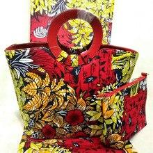 De alta Calidad de Diseño de Moda Mujer Bolso Y Pinted Tela de la Cera Set Vestido de Fiesta Estilo Nigeria Cera Bolso Y Tela de Algodón DF-427