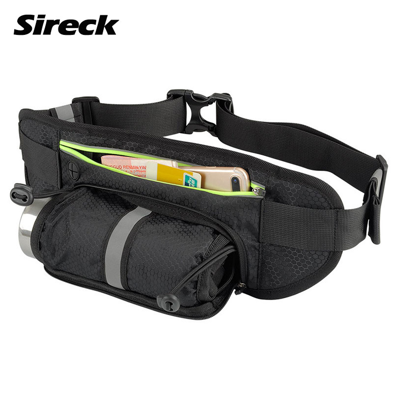 Sireck Running Bag Sports Water Bottle Holder Running Belt Waist Bag Waterproof Fanny Pack Men Women Sport Gym Fitness Run Bag