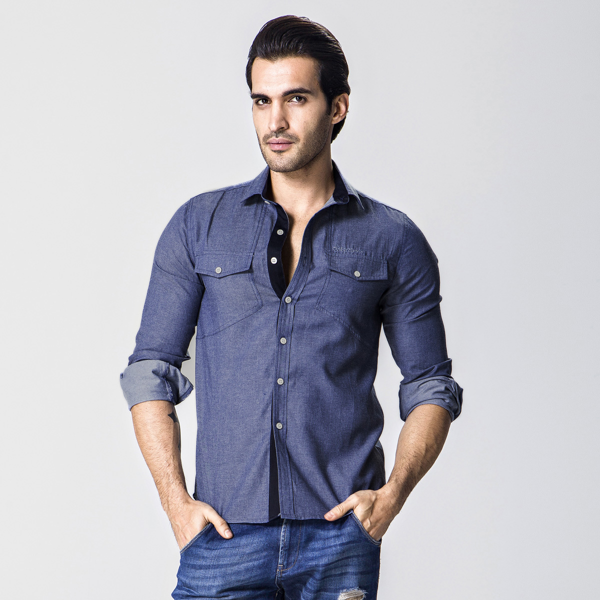 2017 Fashion high quality slim male casual all-match solid denim shirts blue color block long sleeve men shirt jeans camisa