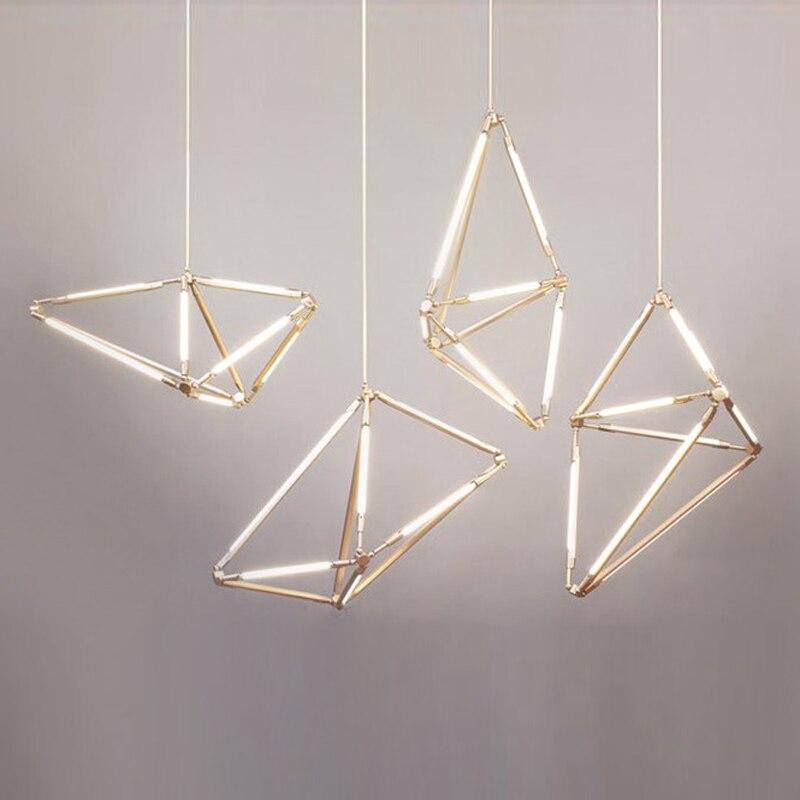 Postmoderne minimaliste d'or en métal peint lustre Nordique creative réglable salon décoration DIY T5 LED lumière