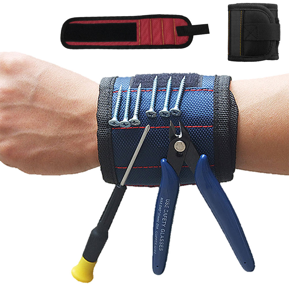 Safe Fashion Strong Magnetic Wrist Breathable Durable Adjustable Wristbands Screw Nail Nut Bolts Drill Bit Holder Tool Belt
