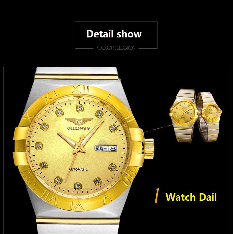 GUANQIN Gold Couple Watches Men Automatic Mechanical Watch Women Quartz Watch Luxury Lover Watch Waterproof Fashion Wristwatches (13)