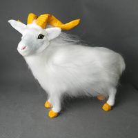 real life toy large 23x20cm standing white goat polyethylene&furs sheep model desk decoration props ,toy gift d0192