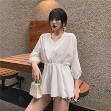 Summer OL Office Ladies Vintage High Waist Loose Solid Ruffles Blouse Autumn Shirt Slim Elegant Plus Size XXL Oversized