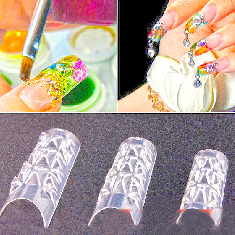 Тегін жеткізу 500PCS New Clear Glaze False Fake Nail Tips Сән әдемі шыны Мозаика Nail Art Tips Design Nail Essential